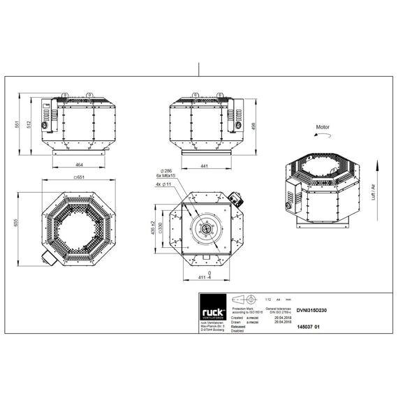Střešní ventilátor DVNI D 315/3800, DVNI 315 D2 30