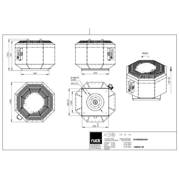 Střešní ventilátor DVNI D 500/7910, DVNI 500 D4 30