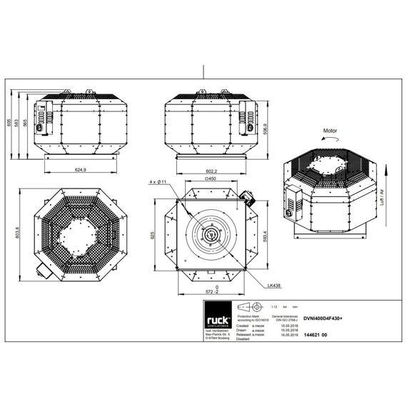 Střešní ventilátor DVNI F4 400/3990, DVNI 400 D4 F4 30