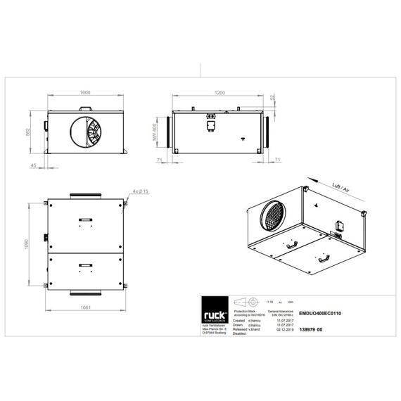 Potrubní ventilátor EM DUO EC 400/4670, EM DUO 400 EC 01