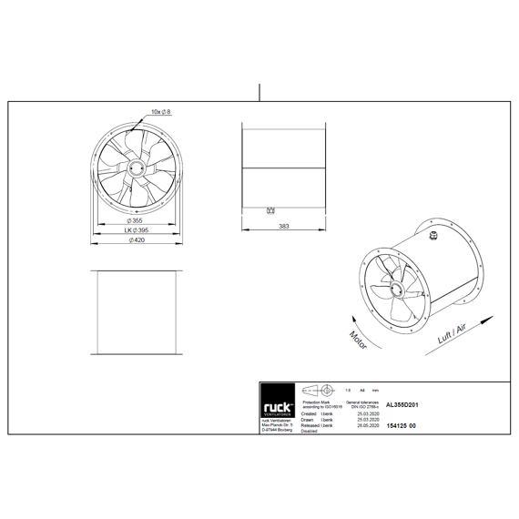 Potrubní ventilátor Axialine 355/4870, AL 355 D4 01