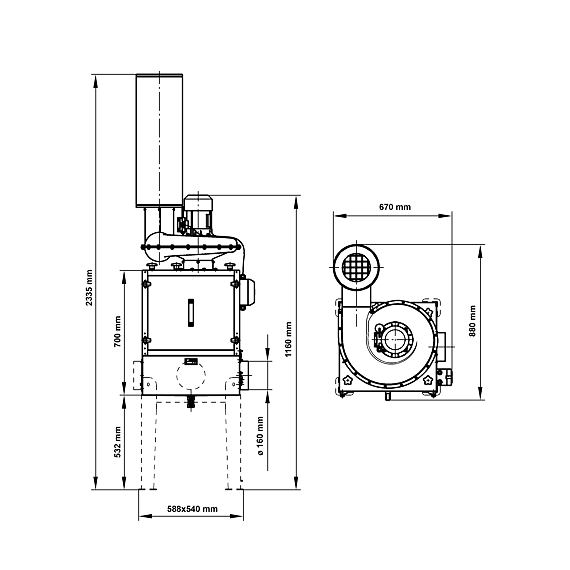 Odlučovač olejové mlhy MISTOL-1000