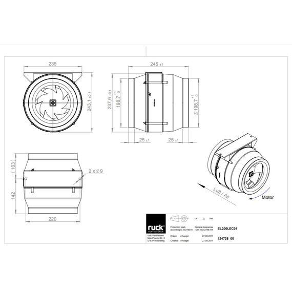 Potrubní ventilátor Etaline 200/1070 EC, EL 200L EC 01