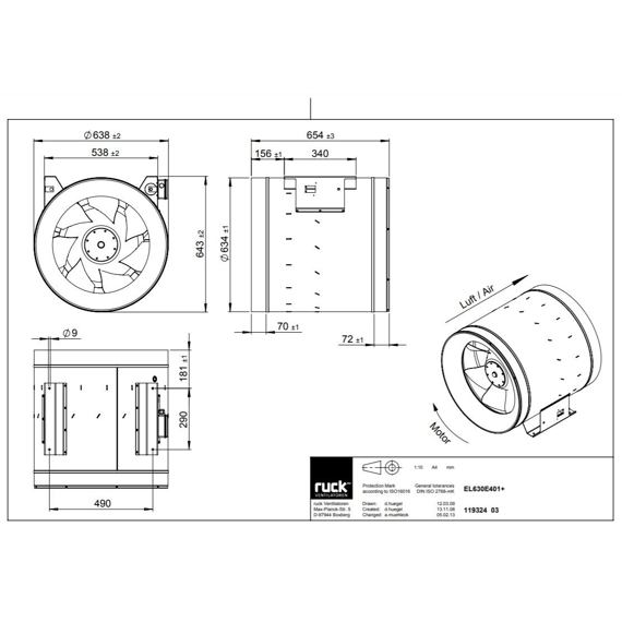 Potrubní ventilátor Etaline 630/13940, EL 630 E4 01
