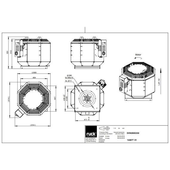 Střešní ventilátor DVN F4 280/2710, DVN 280 D2 F4 30