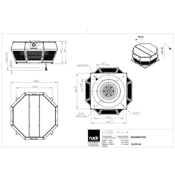 Střešní ventilátor DHA ECP 500/9650, DHA 500 ECP 30