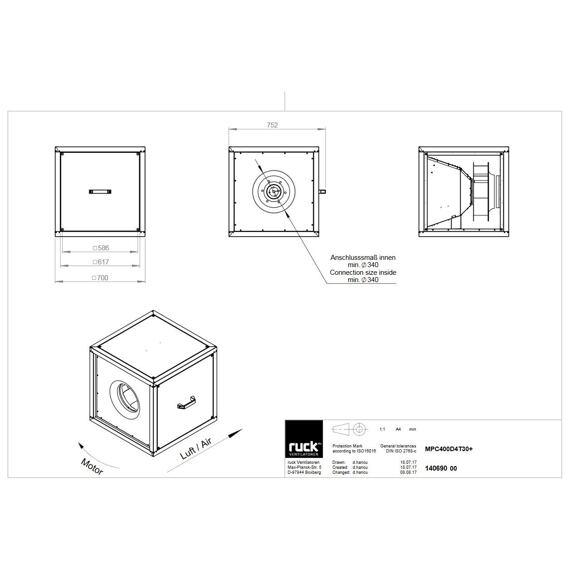 Odtahový ventilační box MPC T D 400/4840, MPC 400 D4 T30