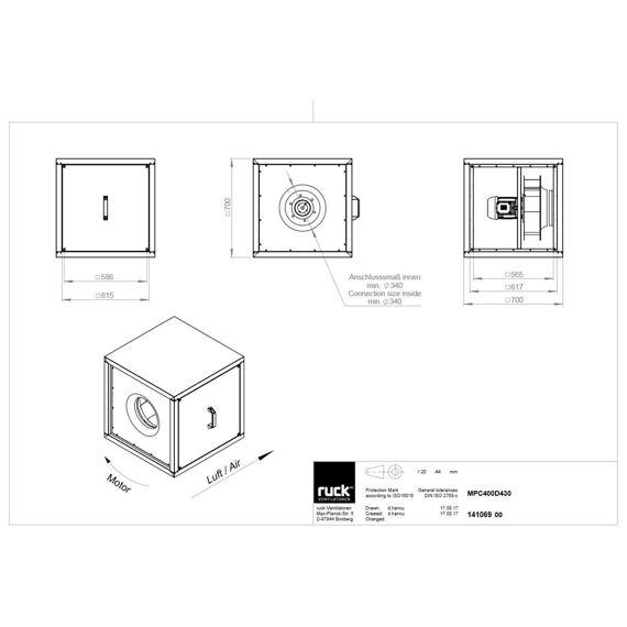 Odtahový ventilační box MPC F4 T 400/4730, MPC 400 D4 F4 T30