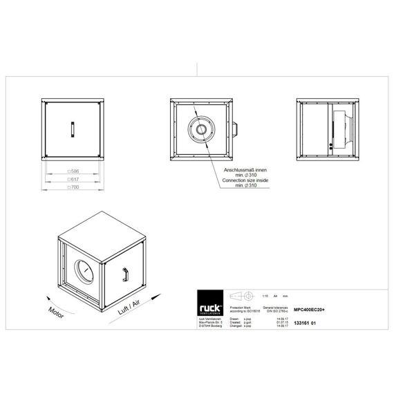 Odtahový ventilační box MPC EC 400/5680, MPC 400 EC 20