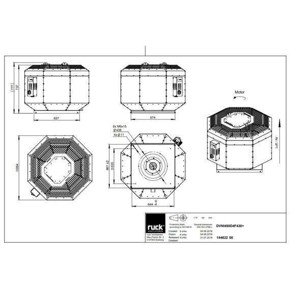 Střešní ventilátor DVNI F4 450/6980, DVNI 450 D4 F4 30