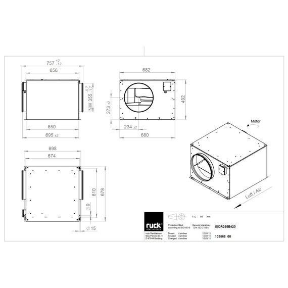 Potrubní izolovaný ventilátor ISOR 355/2190, ISOR 355 E4 20