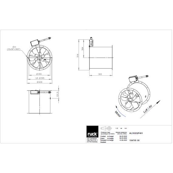 Potrubní ventilátor Axialine 355/6915 , AL 355 D2 F4 01  (400 °C / 120 min)