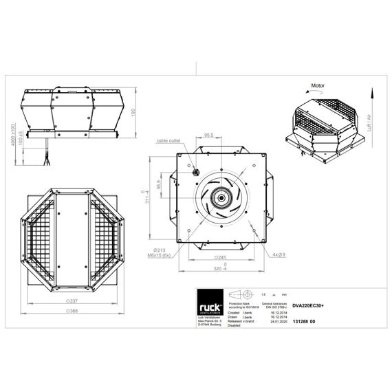 Střešní ventilátor DVA EC 220/940, DVA 220 EC 30