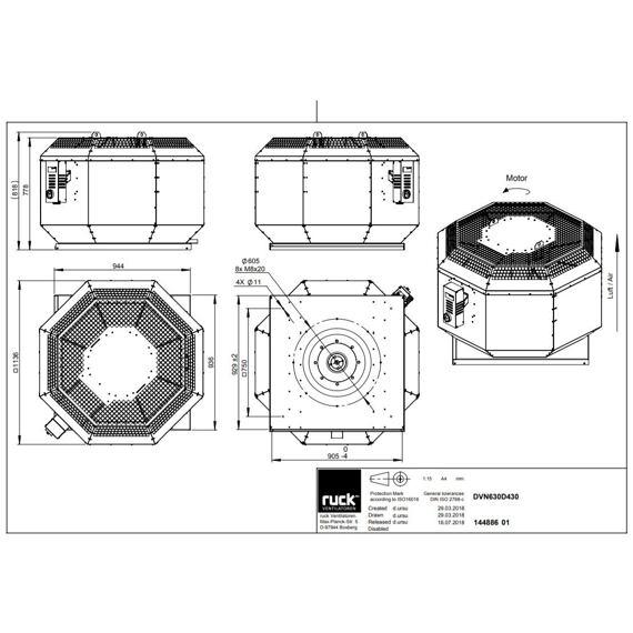 Střešní ventilátor DVN F4 630/14350, DVN 630 D4 F4 30
