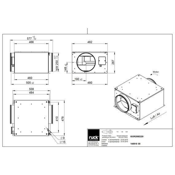 Potrubní izolovaný ventilátor ISOR 250/1090, ISOR 250 E2 20