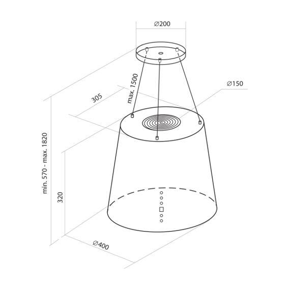 Ostrůvková digestoř Nortberg Ameris Carbon 40 cm