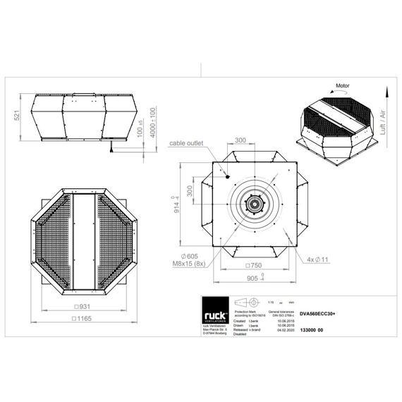 Střešní ventilátor DVA ECC 560/12030, DVA 560 ECC 30