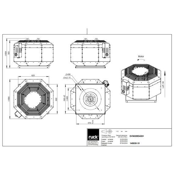 Střešní ventilátor DVNI D 355/4250, DVNI 355 D4 30