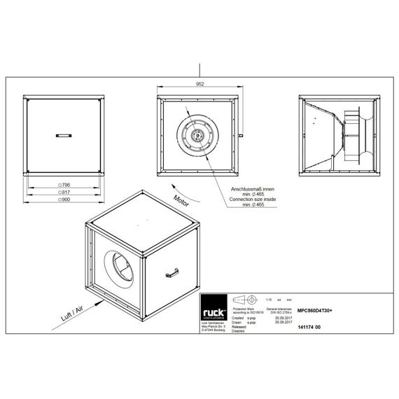 Odtahový ventilační box MPC T D 560/13060, MPC 560 D4 T30