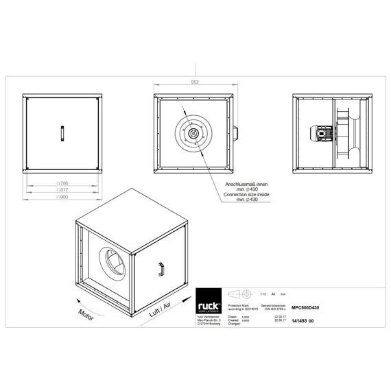 Odtahový ventilační box MPC D 500/9250, MPC 500 D4 30