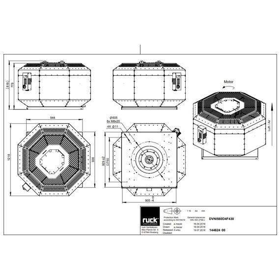 Střešní ventilátor DVNI F4 560/11960, DVNI 560 D4 F4 30