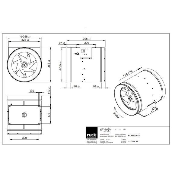 Potrubní ventilátor Etaline 355/4970, EL 355 D2 01