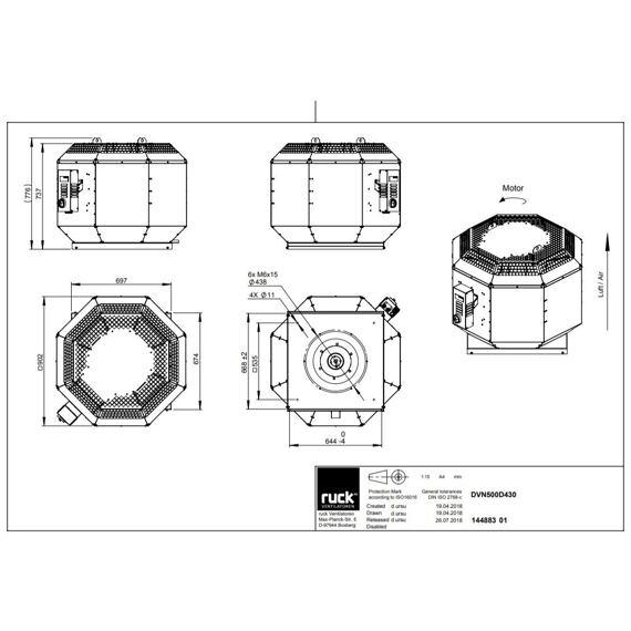 Střešní ventilátor DVN F4 500/7910, DVN 500 D4 F3 30