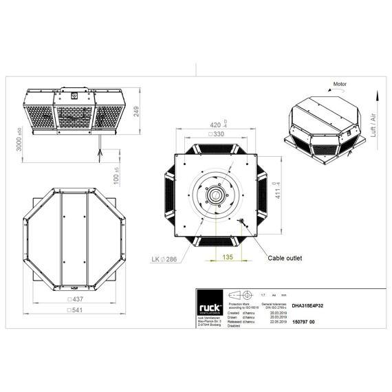 Střešní ventilátor DHA P 315/1870, DHA 315 E4P 32