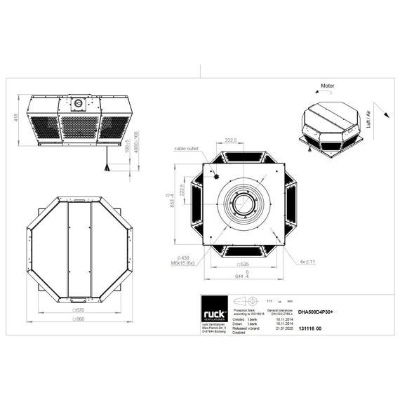 Střešní ventilátor DHA P 500/9240, DHA 500 D4P 30