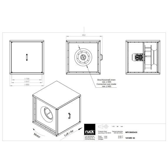 Odtahový ventilační box MPC D 560/13410, MPC 560 D4 30