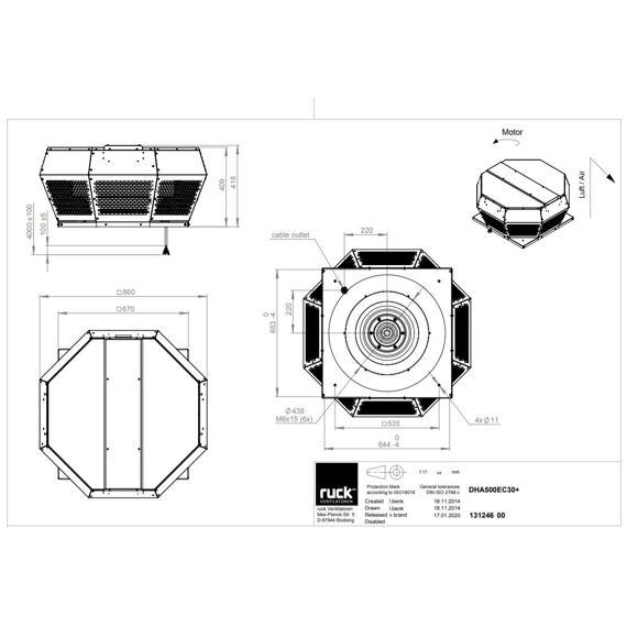Střešní ventilátor DHA EC 500/9650, DHA 500 EC 30