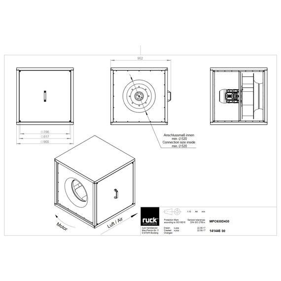 Odtahový ventilační box MPC D 630/17410, MPC 630 D4 30