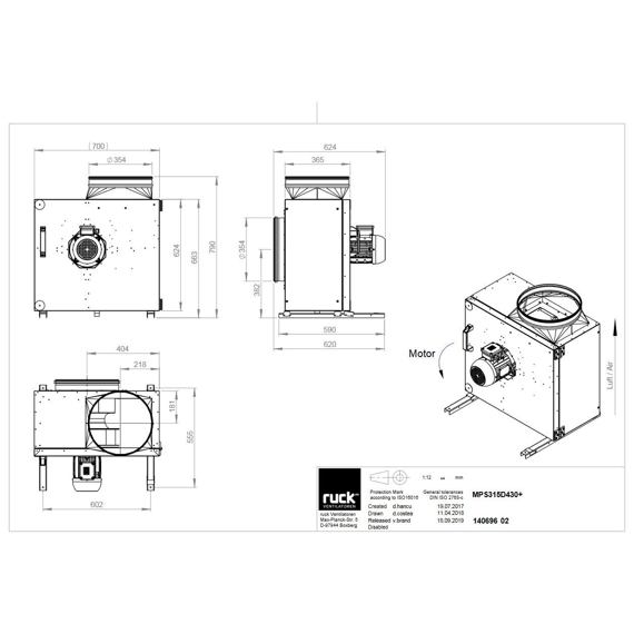 Kuchyňský ventilátor MPS F4 315/3580, MPS 315 D4 F4 30