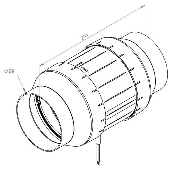 Potrubní ventilátor Etamaster 100/120, EM 100L E2 01