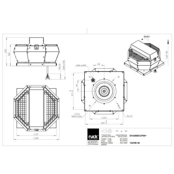 Střešní ventilátor DVA EC CP 250/1200, DVA 250 EC CP 30