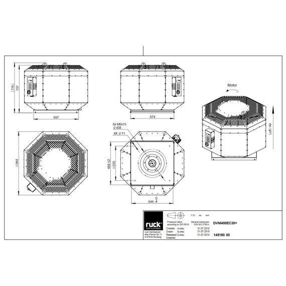 Střešní ventilátor DVNI EC 450/7240, DVNI 450 EC 30