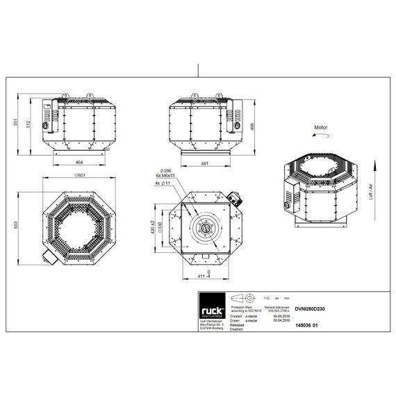Střešní ventilátor DVNI D 280/2710, DVNI 280 D2 30