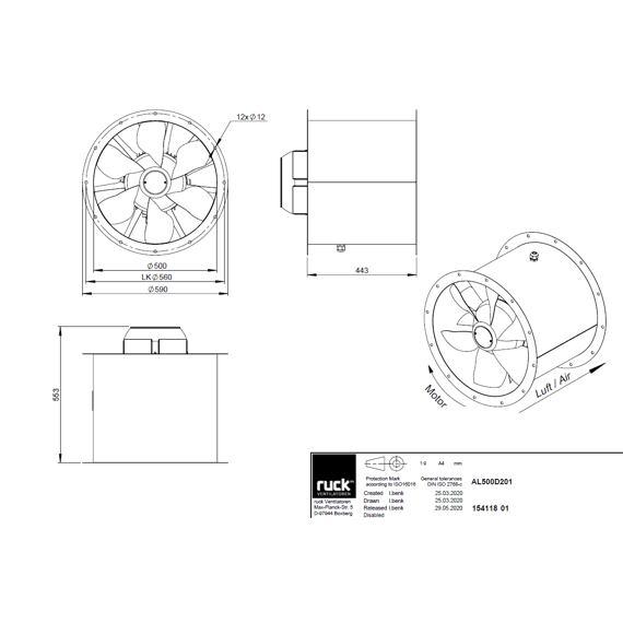 Potrubní ventilátor Axialine 500/19631  AL 500 D2 01