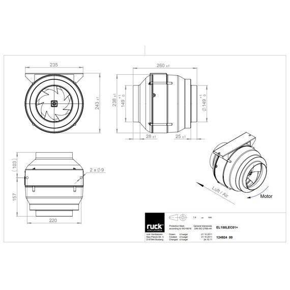 Potrubní ventilátor Etaline 150/940 EC, EL 150L EC 01