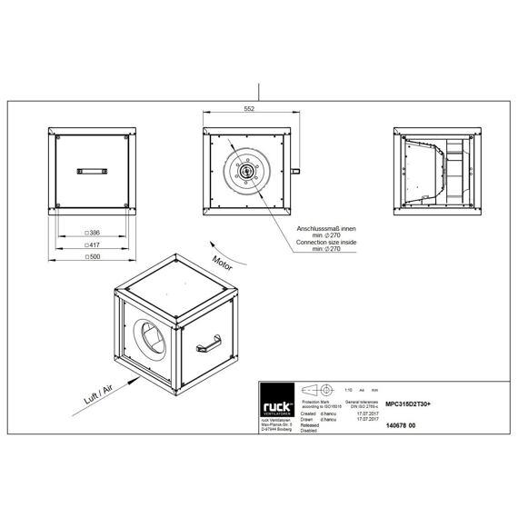 Odtahový ventilační box MPC T D 315/4120, MPC 315 D2 T30