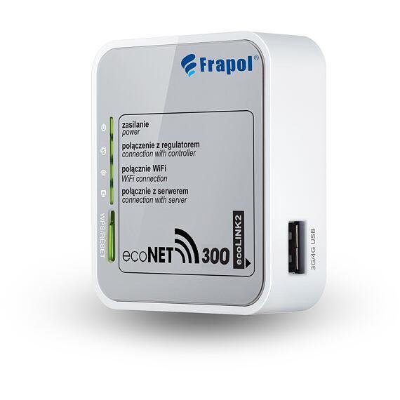 ecoNET pro vzdálenou regulaci přez internet (WiFi nebo RJ5 kabelem)