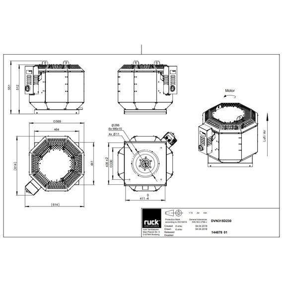 Střešní ventilátor DVN F4 315/3800, DVN 315 D2 F4 30