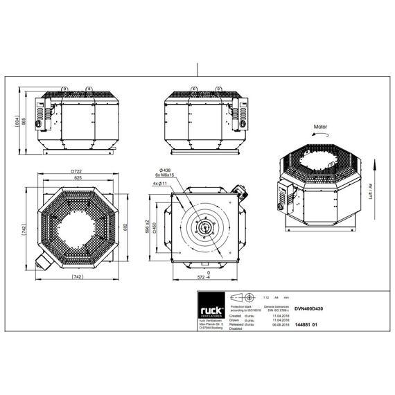 Střešní ventilátor DVN D 400/3990, DVN 400 D4 30