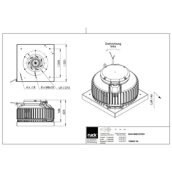 Střešní ventilátor DHA EC CP 190/760, DHA 190 EC CP 20