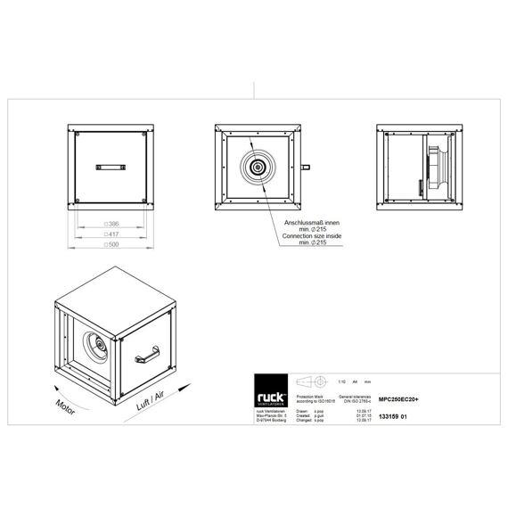 Odtahový ventilační box MPC EC 250/1520, MPC 250 EC 20