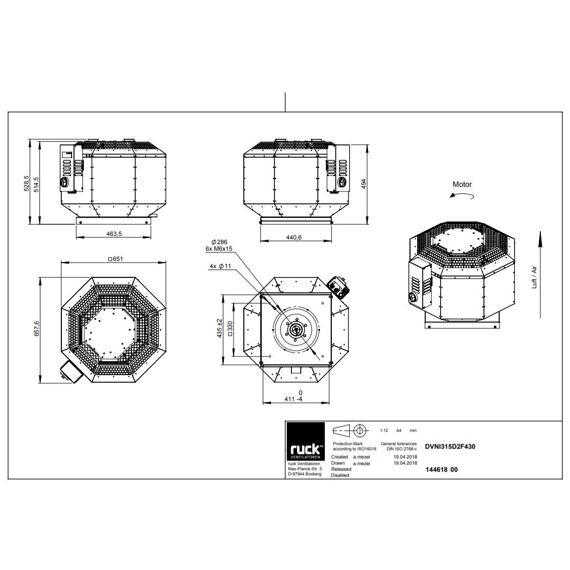 Střešní ventilátor DVNI F4 315/3800, DVNI 315 D2 F4 30