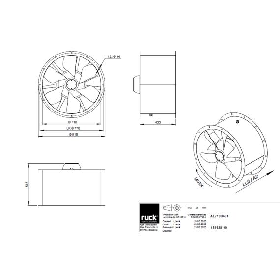 Potrubní ventilátor Axialine 710/22569  AL 710 D6 01