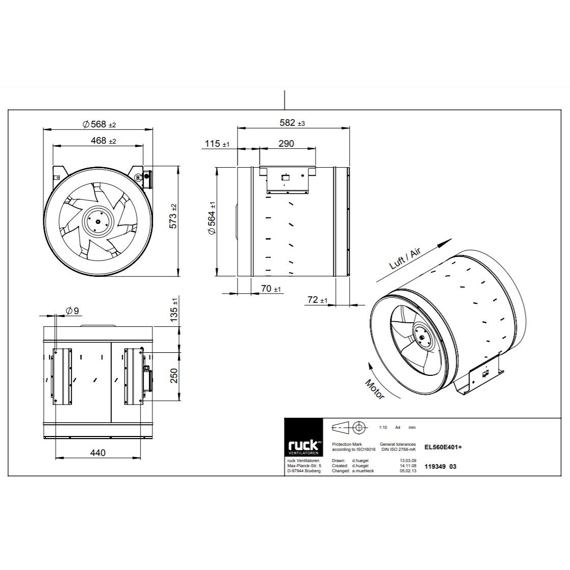 Potrubní ventilátor Etaline 560/9550, EL 560 E4 01
