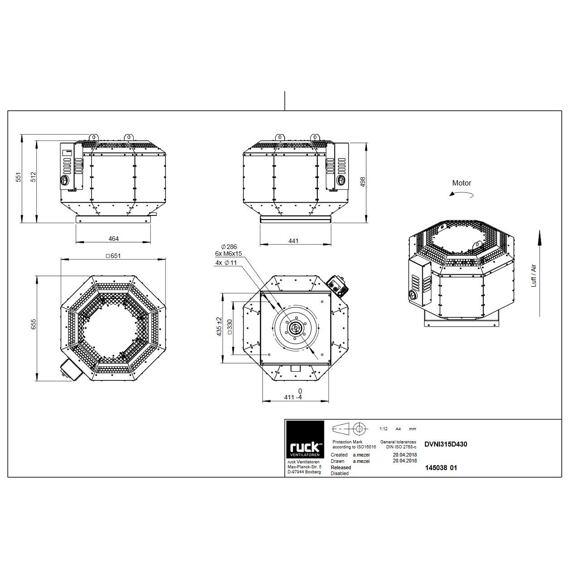 Střešní ventilátor DVNI D 315/3000, DVNI 315 D4 30