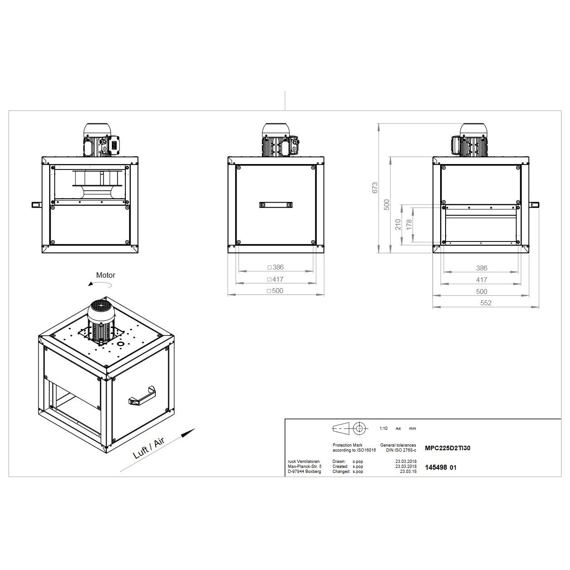 Odtahový ventilační box MPC TI 225/1960, MPC 225 D2 TI 30